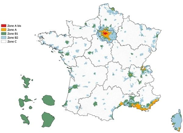 Carte de France des zones PTZ
